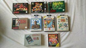 BULK LOT SNES SEGA LYNX Game & Watch Empty Boxes, Zelda, Demon's Crest, Conker's