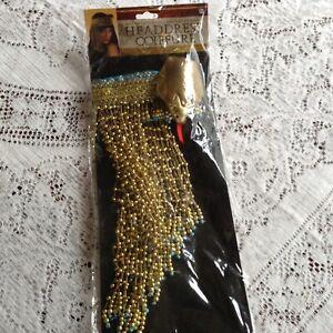 God & Goddesses Headdress Coiffure Gold With Blue Beads