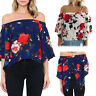 Elegant Casual Women's Short Sleeve Shirt Floral Print Loose Blouse Tops  Gift