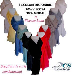 Sciarpa Pashmina foulard scialle scaldacollo Uomo Donna Viscosa/Modal/Lana