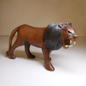 Sculpture Statue Lion Brown Ebony Vintage Art Deco Ethnic 1938 Africa N7675