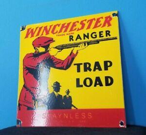 VINTAGE WINCHESTER PORCELAIN LEADER TRAP LOAD SALES AMMO SHOT GUN RANGER SIGN