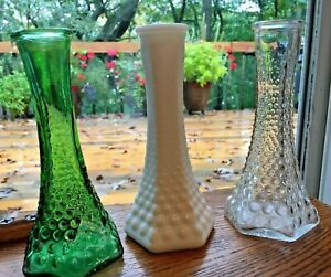 """Set Of 3 Vintage EO Brody Vases 6"""" Tall Green Clear White Milk Glass Hobnail"""