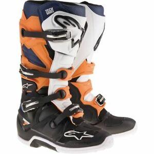Alpinestars Tech 7 Boots - Black/Orange/White, All Sizes