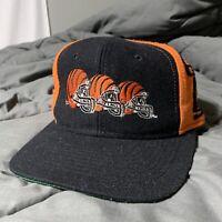 90's CINCINNATI Bengals VINTAGE AJD BLACK Helmet NFL Football Snapback Hat