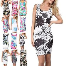 Womens Mini Dress Ladies Sleeveless Muscle Back Vest Floral Butterfly Tunic Top