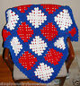AFGHAN BLANKET THROW~Lap Size~Handcrocheted~Red-White-Blue~NEW~FREE SHIP