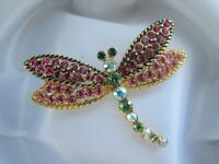 Vintage Kirks Folly Dragonfly Insect Pink & AB Rhinestone Gold Tone Brooch Pin