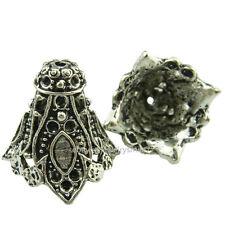 (99048-5X) Antique Ends Tassel Cap Silver Flower Dangle Pendant Filigree