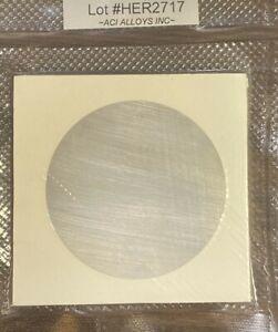 Silver SEM Sputter target: Ag 99.99% pure, 57mm diameter x 0.1mm thick