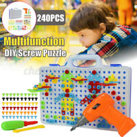 240PCS DIY Drilling Screw 3D Creative Puzzle Electric Drill Set Jigsaw Toy