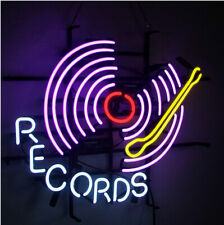 """""""Record"""" Sign Neon Light Sign Display Real Glass Boutique Wall Decor UK 24""""x20"""""""