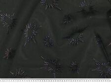 Tüll beflockt, Sterne, bunt auf schwarz, ca.150cm