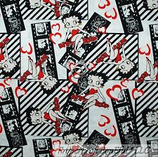 BonEful Fabric FQ Cotton Quilt Betty Boop Heart Red B&W Black White L Film Movie