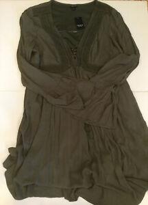 Torrid Olive Green Gauze Lace up Open Sleeve Aline Peasant Dress Torrid Size 1