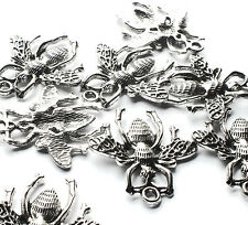 10 Quality Silver Plated Bee Wasp Charms Pendants Gothic Steampunk Flying Insect
