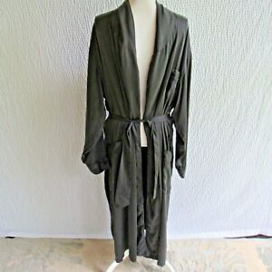 Intimo Mens Black Washable 100% Silk Robe L With  Belt 3 Pockets