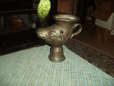 Vintage Bronzed Tin COW FACE Vase Planter Candle Holder Made In Italy Unique !