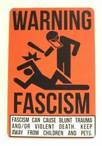 Fascism Warning Sign Tin Poster Man Cave Vintage Retro Ad Style Fascist Antifa
