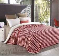 Red Chevron-1 Piece Sherpa Comforter-New Queen Size 79 X 96 In.