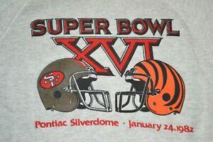 VTG CHAMPION 49ers Cincinnati Bengals Super Bowl XVI Silverdome Crewneck M 1982