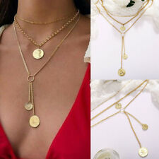 New 2019 Choker Necklace Gold Pendant Three Coin Chain Multi-Layer Women Jewelry