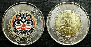 Canada 2020 Bill Reid Grizzly Bear Haida Colourized & Regular Toonie Set!!