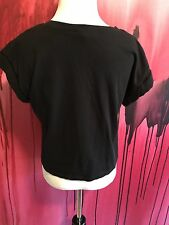 Black Top Forever 21 Shirt Cuffed Sleeve Top Black Short Sleeves, Black Shirt