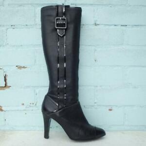 Jaeger Leather Boots Size UK 5 Eur 38 Womens Shoes Stiletto Black Boots