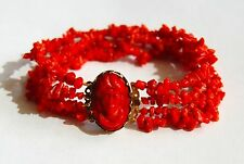 ANTIQUE GEORGIAN NATURAL UNTREATED RED CORAL BRACELET 14K GOLD CLASP CAMEO