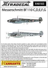 NEW 1:48 Xtradecal X48183 Messerschmitt Bf-110C/Bf-110D/Bf-110E/Bf-110F/Bf-110G