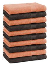 Betz lot de 10 serviettes débarbouillettes Premium: orange & marron foncé