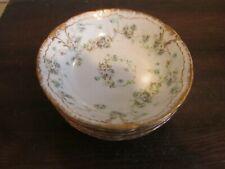 T, Haviland Limoges France Schleiger Set Of 6 Berry Bowl Wreath Of Roses Gold
