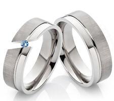 Verlobungsringe Eheringe Partnerringe aus Titan mit echtem Blautopas Gravur TD3T