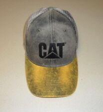 Caterpillar Gold Brown Dirty Wash Black CAT logo & mesh Trucker Cap Hat Ballcap