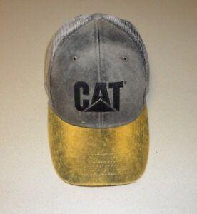 Caterpillar Gold Brown Dirty Wash Black CAT logo & mesh Trucker Cap Hat Ballcap