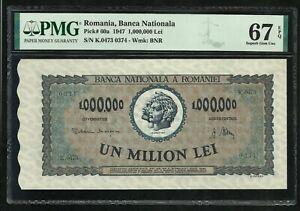 Romania : 1.000.000 Lei Million 1947 ; PMG : Superb Gem UNC 67 ; EPQ