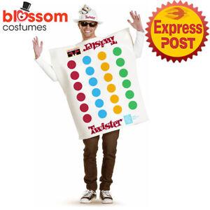 CA1326 Mens Twister Board Game Dress 60s 70s Retro Fancy Dress Up Costume + HAT