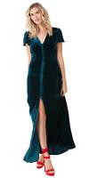 Hale Bob Flutter Sleeve Silk Velvet Maxi Dress XS S M L Blue Red Black 77EV6396