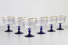 Russian Imperial Lomonosov Set 6 Glasses for Dessert Cobalt Net Ramekins Bowl