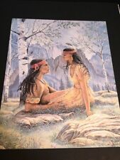 "Indian Couple W/ Mountains Large 16"" X 20"" Picture Print New In Lithograph"