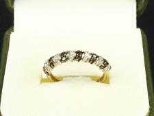 White & Champagne Diamond Ring 9ct Gold Ladies Size N 1/2 375 1.5g Fj6