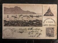 1902 St Vincent Cape Verde Picture Postacard Cover To New York USA