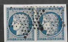France: une paire de 1850 25c bleu profond cérès, paris etoile annuler 4 pleine marge