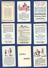 9 Single Swap Playing Cards EXTRA JOKERS #2 DECO VINTAGE LOT DURATONE CEL-U-TONE