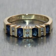 Vintage Estate 18k Yellow Gold 0.60ctw Sapphire & Diamond Wedding Band Ring