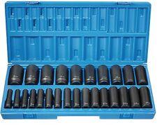 "24pc Set 9mm-36mm 1//2/""Drive 6Pt Shallow Supertorque®Chrome Sockets Set 32941"