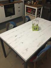 Tavolo base ferro antracite e piano con legno massello shabby bianco 150 x 80