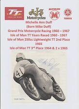 Mike Duff Moto Racer 1960-1967 iomtt Raro Original Firmada a Mano Pic/Corte