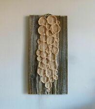 "Handmade free form crochet on wood base 20"" x 10"", Wall Art Decor"